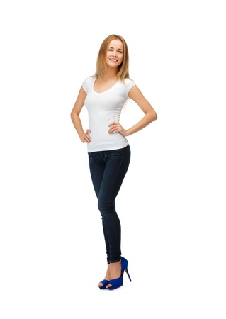 adolescents: happy teenage girl in blank white t-shirt Stock Photo