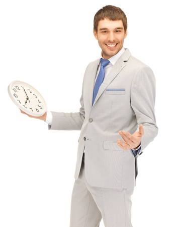 oclock: bright picture of handsome man with clock