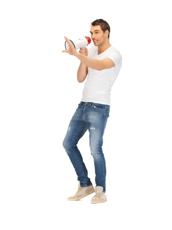 bright picture of handsome man with megaphone    photo