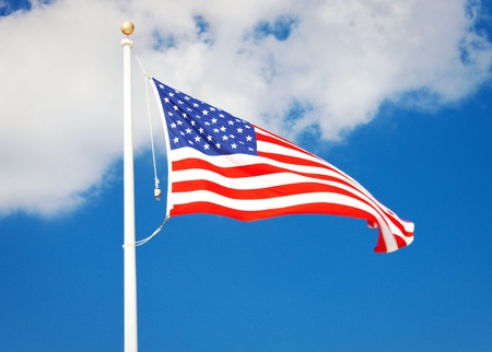 picture of the american flag flying in the wind photo