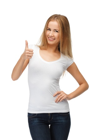 happy teenage girl in blank white t-shirt with thumbs up Stock Photo - 15016626