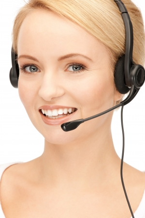 bright picture of friendly female helpline operator Stock Photo - 15043688
