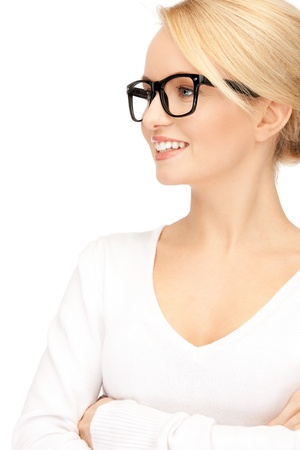 nerd girl: picture of happy and smiling woman in specs
