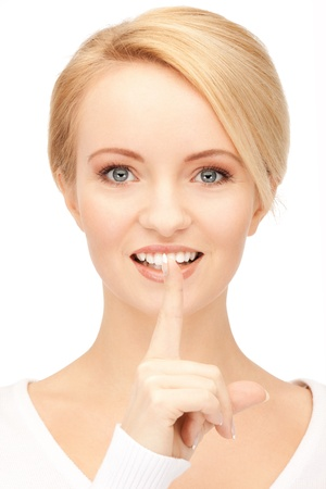 picture of happy woman with finger on lips Stock Photo - 15043683