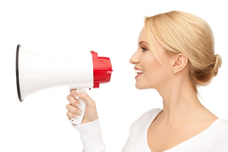 bright picture of happy woman with megaphone photo