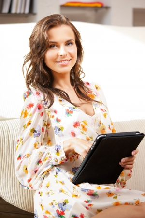picture of happy woman with tablet pc computer Stock Photo - 15043678