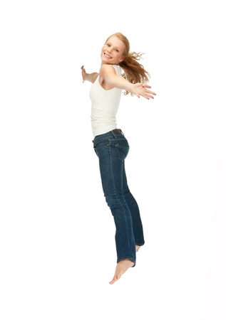 young girl barefoot: picture of jumping teenage girl in blank white t-shirt