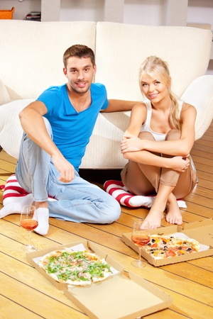bright picture of happy romantic couple having dinner photo