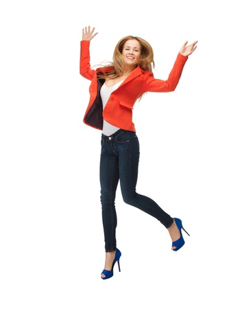 high heels woman: picture of jumping teenage girl in casual clothes