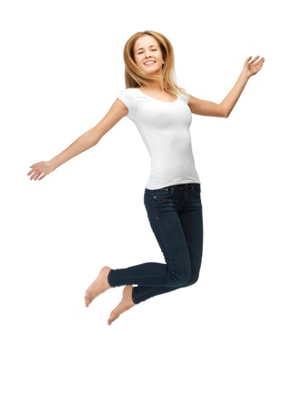 flying woman: picture of jumping teenage girl in blank white t-shirt