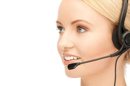 bright picture of friendly female helpline operator Stock Photo - 15043765