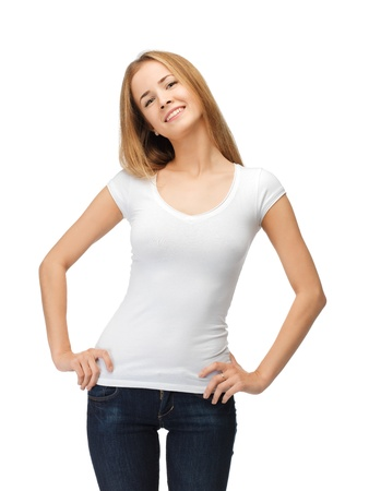human kind: happy teenage girl in blank white t-shirt Stock Photo
