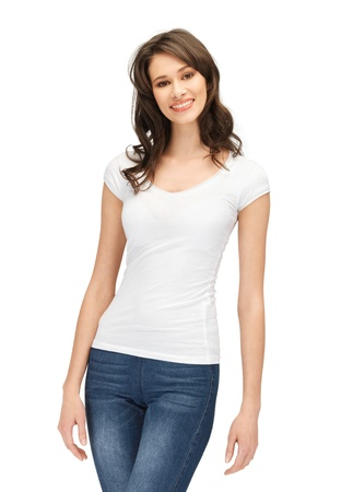 happy teenage girl in blank white t-shirt Imagens