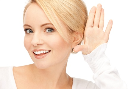 bright picture of happy woman listening gossip photo