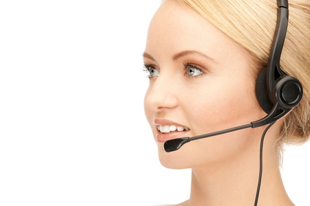 bright picture of friendly female helpline operator Stock Photo - 15043868