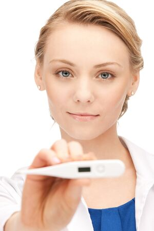 picture of attractive female doctor with thermometer      photo