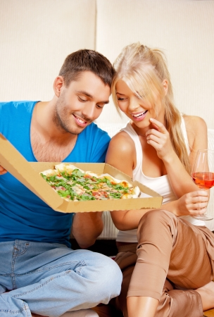 bright picture of happy romantic couple having dinner photo