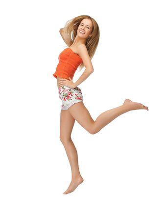 picture of jumping beautiful woman in casual clothes Stock Photo - 15501204