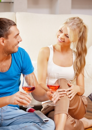 picture of happy romantic couple drinking wine Stock Photo - 15501316