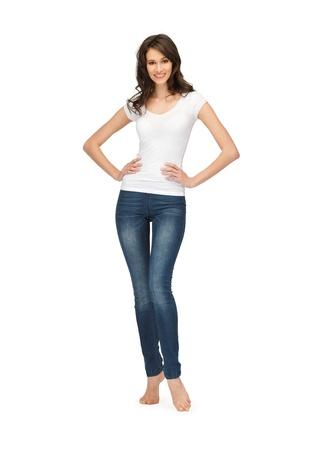 happy teenage girl in blank white t-shirt Imagens