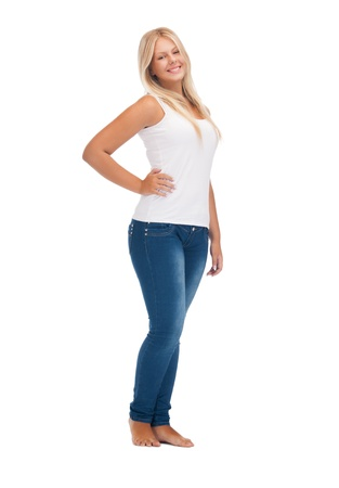 plus size woman: happy teenage girl in blank white t-shirt Stock Photo