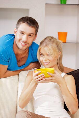 nice food: Яркая картина счастливой пары с мюсли внимание на мужчину Фото со стока