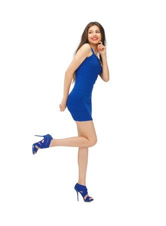 high heels woman: picture of lovely woman in blue dress