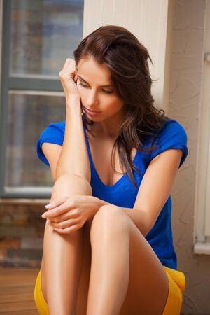 bright picture of sad and lonely woman Stock Photo - 15361602