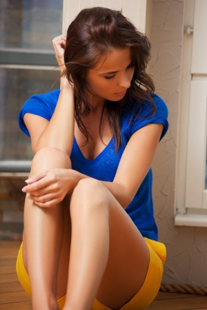 bright picture of sad and lonely woman Stock Photo - 15421929
