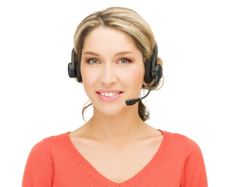 bright picture of friendly female helpline operator Stock Photo - 15399658