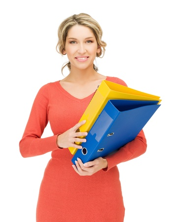 bright picture of happy woman with folder photo