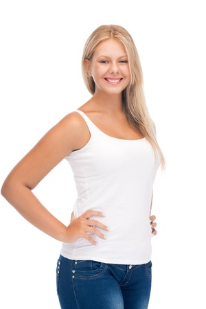 happy teenage girl in blank white t-shirt photo