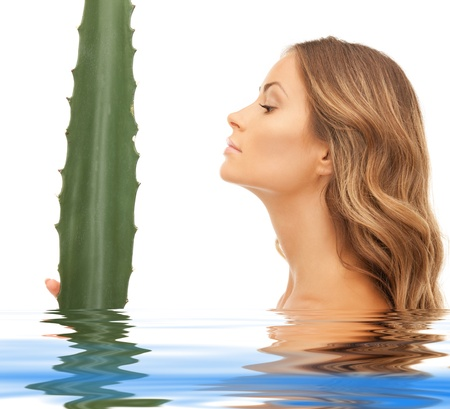 picture of lovely woman with aloe vera in water Stock Photo - 15399635