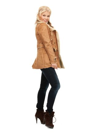 picture of beautiful woman in sheepskin jacket photo