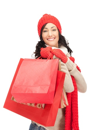 christmas shopping: picture of lovely woman with shopping bags