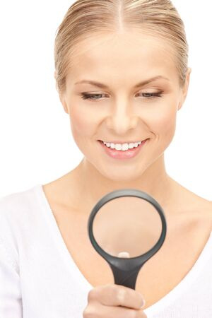 picture of beautiful woman with magnifying glass Stock Photo - 15398208