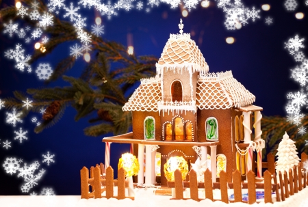 picture of gingerbread house over christmas background Stock Photo - 15399952