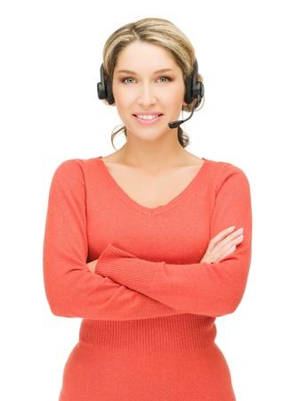 bright picture of friendly female helpline operator Stock Photo - 15420367