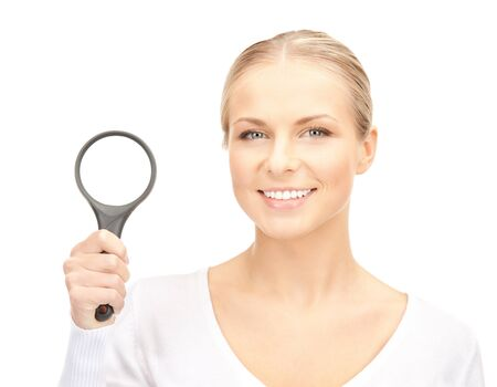 picture of beautiful woman with magnifying glass    Stock Photo - 15420084