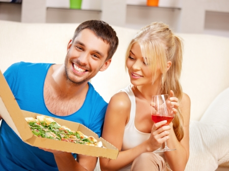bright picture of happy romantic couple having dinner  focus on man  Stock Photo - 15446002