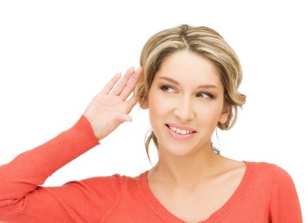 bright picture of happy woman listening gossip Stock Photo - 15446071
