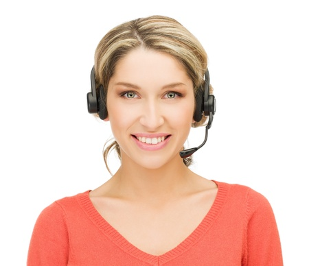bright picture of friendly female helpline operator Stock Photo - 15446042