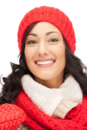 bright picture of beautiful woman in hat, muffler and mittens   Stock Photo - 15446066