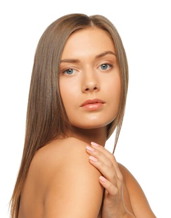 face and hands of beautiful woman with long hair Stock Photo - 15452187