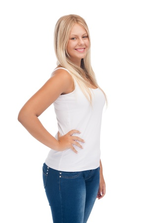 overweight students: happy teenage girl in blank white t-shirt Stock Photo