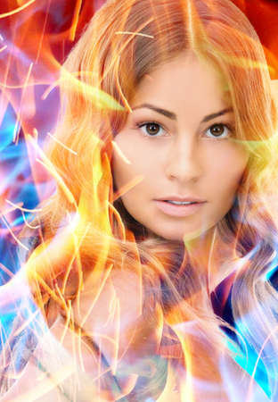 bright picture of lovely woman with fire effect photo