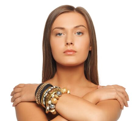 bright picture of beautiful woman with bracelets photo