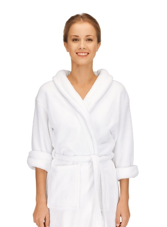 picture of beautiful woman in white bathrobe Stock Photo - 15574753