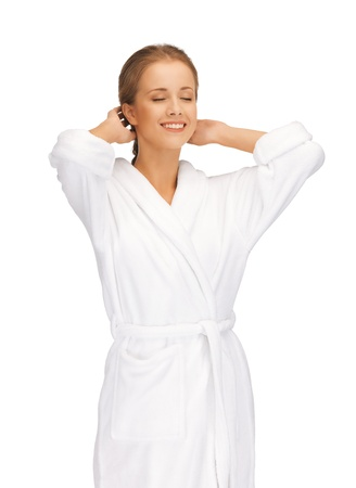 picture of beautiful woman in white bathrobe Stock Photo - 15598358