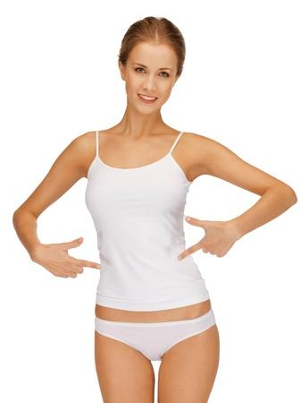 imagen de la mujer en ropa interior de algodón que muestra concepto de adelgazamiento Foto de archivo
